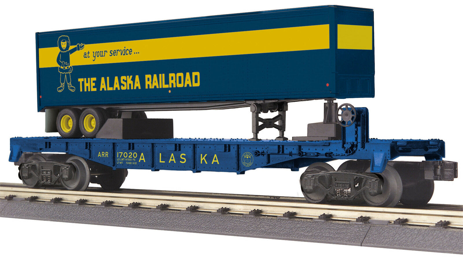 MTH Railking O Trains Trains Trains Alaska Flat Car w' 40' Trailer 30-76631 1b006d