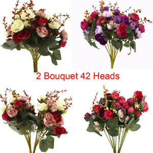 2-Bouquet-42-Heads-Artifical-Rose-Silk-Flower-Bouquet-Home-Wedding-Decor-H