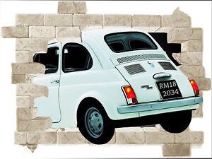Wall-sticker-trompe-l-039-oeil-stampa-fiat-500-pop-art-adesivo-per-muro