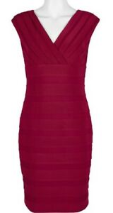 EUC ADRIANNA PAPELL V-Neck S/L crepe & mesh fitted dress in deep red US8