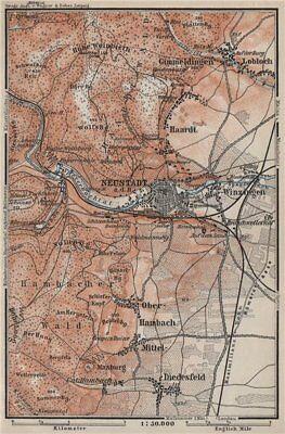 Antiques Neustadt An Der Haardt Karte 1906 Map Art Prints Neustadt An Der Weinstraße & Winzingen