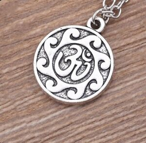 925-Sterling-Silver-Women-039-s-24-034-Link-Chain-Necklace-And-Yoga-Zen-Pendant-D713B