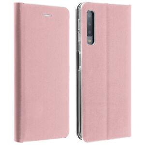 Custodia-SLIM-flip-book-copertura-Stand-Portafoglio-Custodia-per-Samsung-Galaxy-A7-2018-Rosa