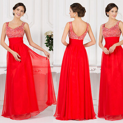 XMAS Final Discount Beaded Long /Bridesmaid Party Evening Prom Formal Dress Gown
