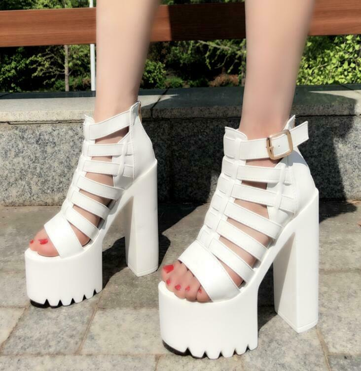Hollow Out Platform Supoer High Block Heels donna donna donna Punk Dance scarpe Sandals 15CM 102a46