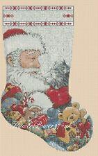 Cross stitch chart  Christmas Stocking Santa 4  FlowerPower37.