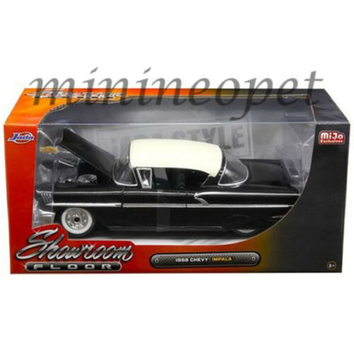 JADA 98895 SHOWROOM FLOOR 1958 CHEVROLET IMPALA 1//24 DIECAST MODEL CAR BLACK