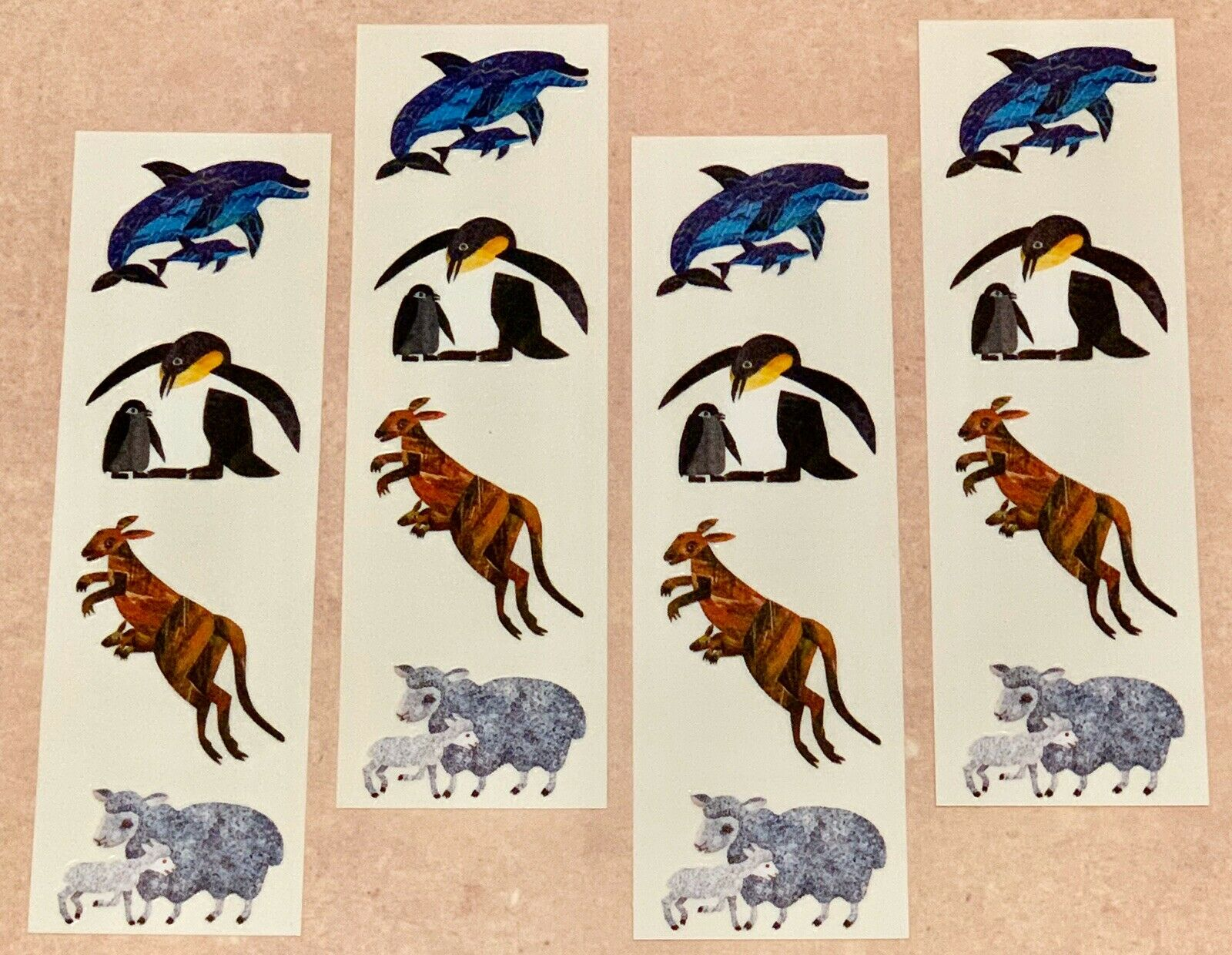 Mrs Grossmans Eric Carle ANIMALS Dolphin Penguin Kangaroo Sheep Stickers NEW Lot