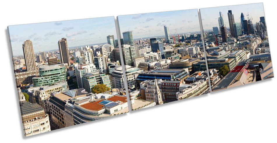 Skyline londinese Cityscape Tela Wall Art Treble BOX Frame stampa