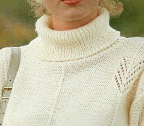 """A0165 Knitting Pattern Ladies Polo Neck Long Jumper 6 sizes - 30/""""-40/"""""""