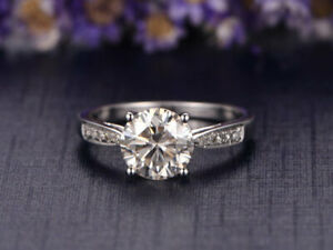 1.57 Ct Certified Moissanite Engagement Ring 18K Solid White Gold ring Size 4 5