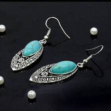 Flower Carved Tassel Dangle Chandelier Earrings Oval Turquoise Tibet Silver Boho