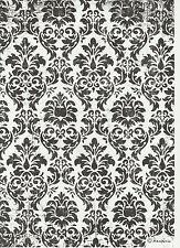 Carta di riso per Decoupage Decopatch Scrapbook Craft sheet Black & White Carta Da Parati