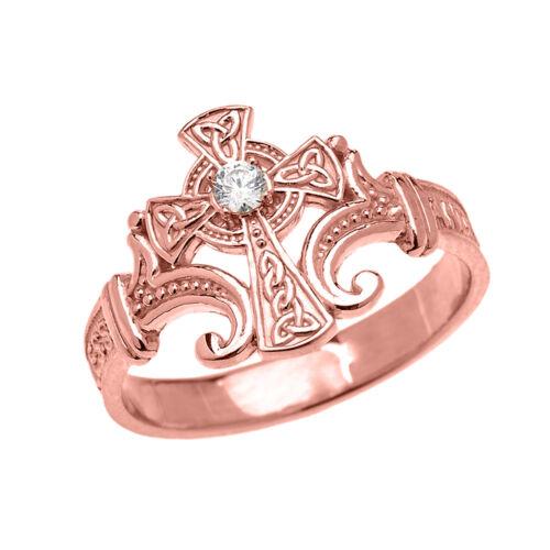 10k or Rose Solitaire Diamant Croix Celtique Cryptée Prière Bénédictions Bague