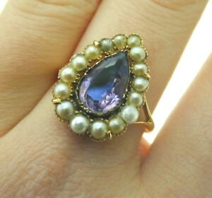 Antique-Amethyst-Pearl-Teardrop-Shaped-Yellow-Gold-Foil-Backed-Ring-Victorian