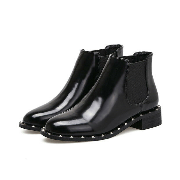 Stivali stivaletti bassi scarpe anfibi 4 cm nero eleganti simil simil eleganti pelle 9432 8dd5e4