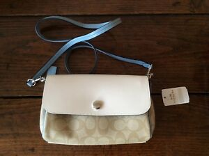Clutch Cross Body Bnwt Bag Reversible White Coach Blue Leather wgT7q0