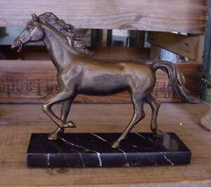 Desk Statue on Plinth Horse Figurine Metal Antique Bronze Patinized New | eBay