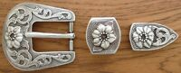 Western Rodeo Decor Flower Bridle Buckle Set For 3/4 Wide Leather