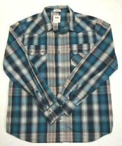 Levi-039-s-Men-039-s-XL-Button-Front-Long-Sleeve-Blue-Plaid-Shirt-Pearl-Snaps