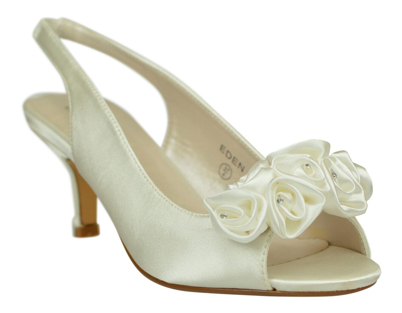 Pour femme ivoire mariage fête bal soirée demoiselle d'honneur bout ouvert talon bas chaussures