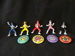 Vintage 1994 Mighty Morphins (5) Power Rangers With (4) Rare Pins ,Total 9