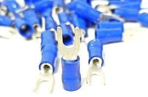 100pcs BLUE FORK SPADE TERMINAL 16-14GA #8 VINYL INSULATED CRIMP WIRE CONNECTOR