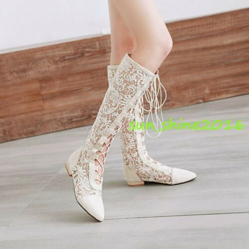 Women Gladiator Summer Knee High Boots Lace Up Lace Floral Shoes Low Heel size