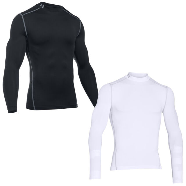 Under Armour Men s ColdGear White Compression Mock Neck Shirt Medium Running 9acffeb8e