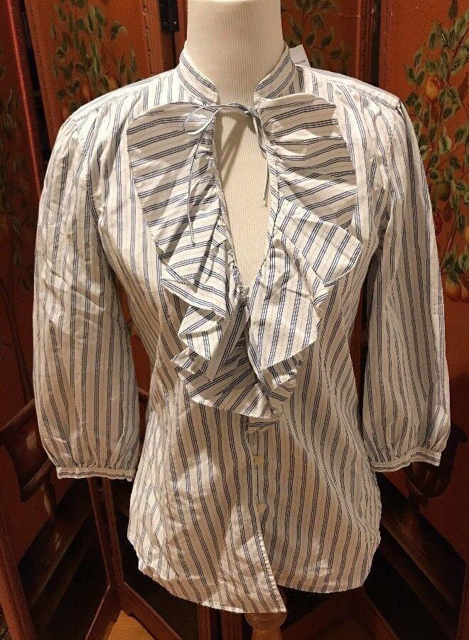 XS Ladies Ralph Lauren Jeans Co. Ruffled Blouse Top Blau Weiß Stripe Button
