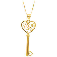 """14K Yellow GOLD LOVE KEY HEART CHARM PENDANT with 18"""" Chain - Valentines Gift"""