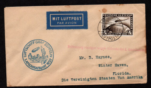 $Germany 1929 Zeppelin cover, interupted flight delay, Winter Haven FL