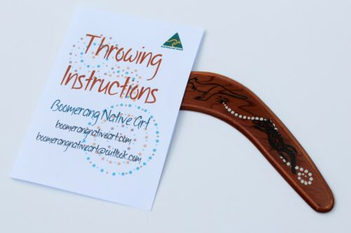 Australian Made 29cm Premium Throwing Boomerang with Stained Poker+paint Design