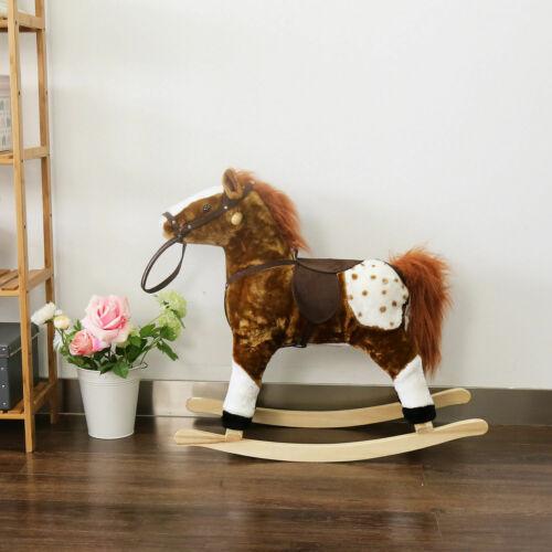 Baby Kids Toy Plush Wooden Rocking Horse Boy Riding Rocker with Sound Brown