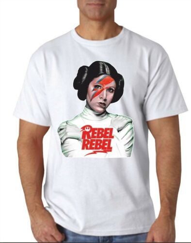 Princess Rebel Rebel T-SHIRT STAR WARS BOWEY STAR MAN leia  RETRO WHITE YOLO