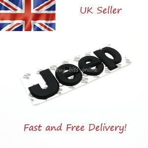 Jeep 3D Metal Matt Black Emblem Lettering Logo Sticker Jeep Cherokee Renegade - <span itemprop='availableAtOrFrom'>Quick Postage, United Kingdom</span> - Jeep 3D Metal Matt Black Emblem Lettering Logo Sticker Jeep Cherokee Renegade - Quick Postage, United Kingdom