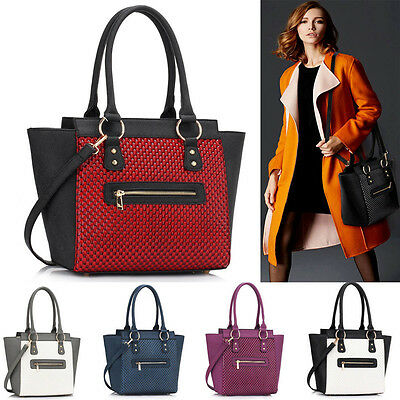 New Two Toned Design Bag Women's Fashion Tote Bag Faux Leather