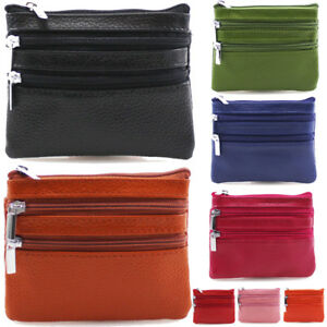 109fa5636b4118 UK Ladies Womens Soft Leather Small Two Zip Coin Bag/Pouch/Wallet ...