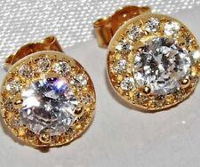 Impresionante 9 Ct Amarillo Oro En Plata 1.75ct creado Diamond Cluster pendientes con Pasador