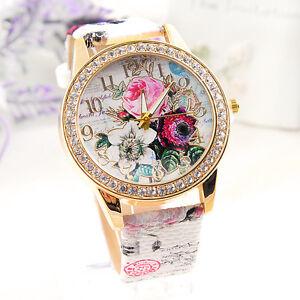 Ladies-Flower-Dial-Leather-Women-039-s-Stainless-Steel-Analog-Quartz-Wrist-Watch