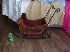 5cca926055895 christmas santa claus vintage BIG doll window sled decoration decor display  wood