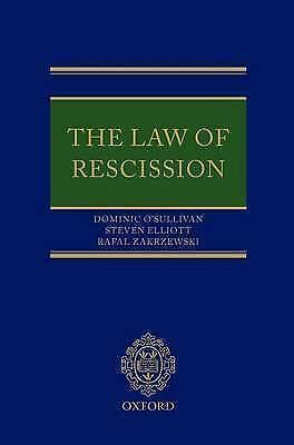 The Law of Rescission by O'Sullivan, Dominic, Elliott, Steven, Zakrzewski, Rafa
