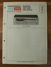 HIFI 4020 HIFI 4020A ITT Graetz Service Kundendienst Service Manual