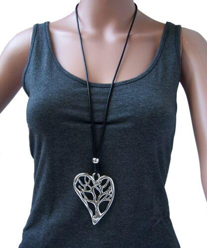 Cadena Negro Lang XL-collar cuero-Look remolque plata joyas señora kv24
