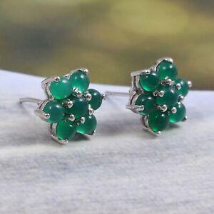Natural-Onyx-Flower-Cluster-Earrings-Studs-925-Sterling-Silver-Dainty-Bohemian