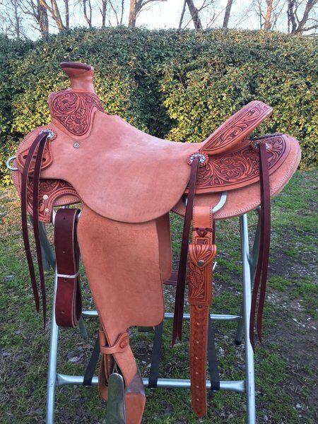 Western Rancho Mano Fileteado Roper de cuero natural y tallada 17  silla de montar