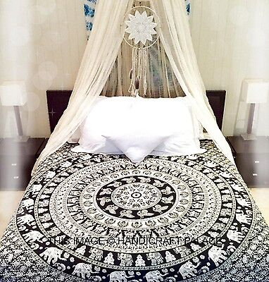 Indian Elephant Mandala Tapestry Wall Hanging Hippie Tapestries Ethnic Bedspread