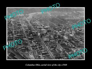 OLD-LARGE-HISTORIC-PHOTO-OF-COLUMBUS-OHIO-AERIAL-VIEW-OF-THE-CITY-c1940-2
