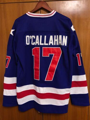Jack O/'Callahan #17 1980 Miracle On Ice USA Hockey Jersey Blue S M L XL XXL XXXL