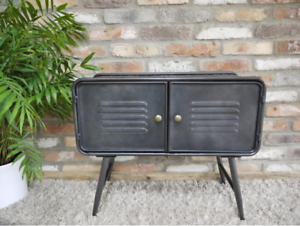 Industrial-retro-urban-grey-metal-Low-sideboard-unit-cabinet-storage-Cupboard
